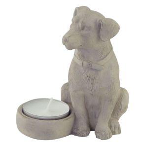 Waxinelichthouder zittende Hond beige