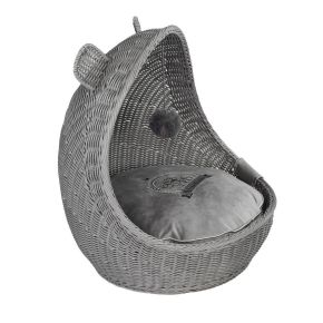 Wieg Wicker Cute Pets Grijs