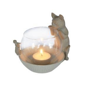Waxinelichthouder Kat met glas Beige