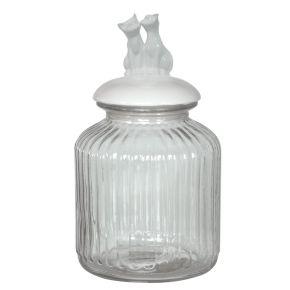 Glazen voorraadpot Kat Wit