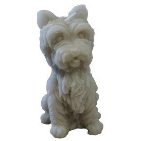 West Highland terrier kaars taupe