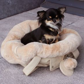 Luxury Dog Carrier Tas Beige