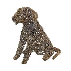 Lamp Hond Riet grof gevlochten (M) Kooboo Grey