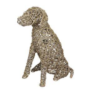 Lamp Hond Riet grof gevlochten (L) Kooboo Grey