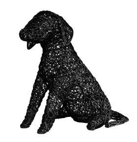 Lamp Hond Riet fijn gevlochten (L) Zwart